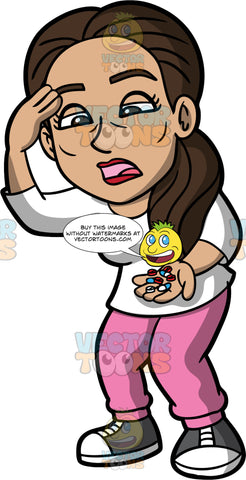 Isabella Holding A Handful Of Pills. A Hispanic woman wearing pink pants, a white shirt, and gray and white sneakers, looking at a bunch of pills in her hand