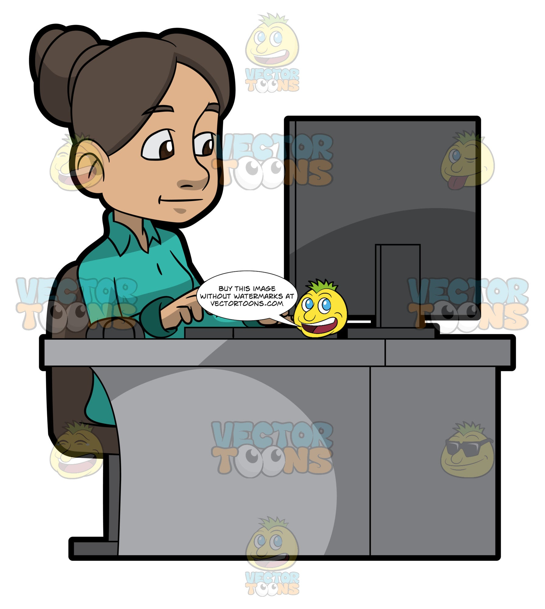 A Woman Typing A Document Using The Office Computer