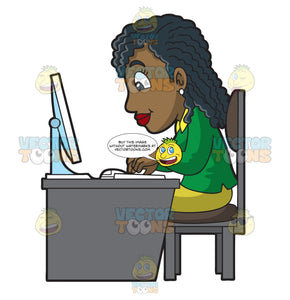 A Black Woman Using Her Office Computer