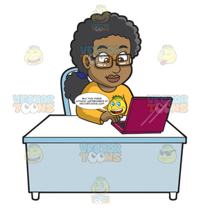 A Black Woman Using A Laptop Computer