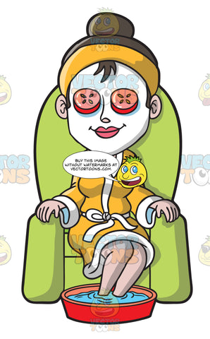 A Woman Wearing A Facial Undergoing A Foot Spa Therapy