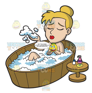 A Woman Enjoying A Warm Bubble Bath
