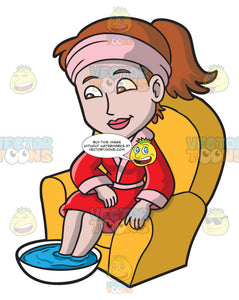 A Woman Relaxes While Having A Foot Soak