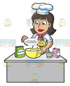 A Lady Chef Making A Cake Batter
