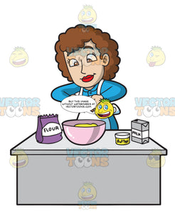 A Lady Cook Making A Cake Batter