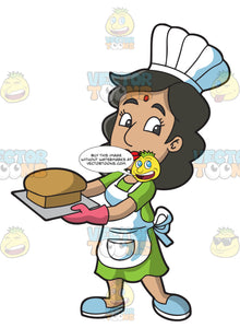 An Indian Cook Holding A Tray With A Fresh Baked Loaf Of Bread