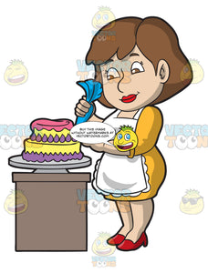 A Woman Decorating A Beautiful Cake