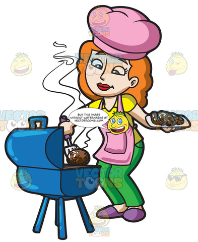 A Woman Grilling Some Burger Patties