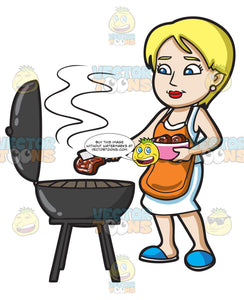 A Woman Gets The Steak That She Is Grilling