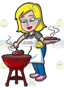 A Woman Grilling Steak