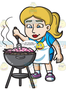 A Woman Grilling A Squid