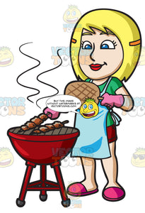 A Woman Grilling Kebabs On The Barbecue