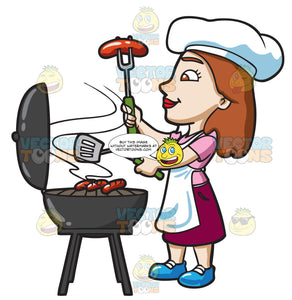 A Woman Grilling Hotdogs