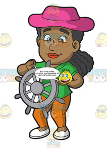 A Happy Black Woman Steering The Wheel Of A Boat