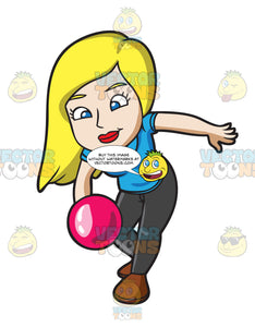 A Blonde Woman Throwing A Pink Bowling Ball