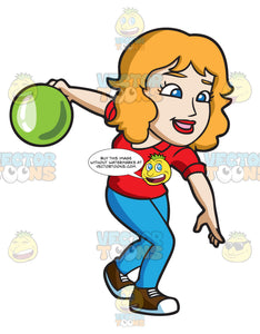A Woman About To Roll A Bowling Ball