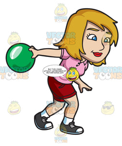 A Blonde Woman Enjoying A Game Of Bowling
