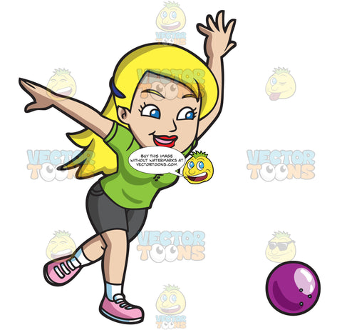 A Woman Hoping To Strike All Pins With A Bowling Ball