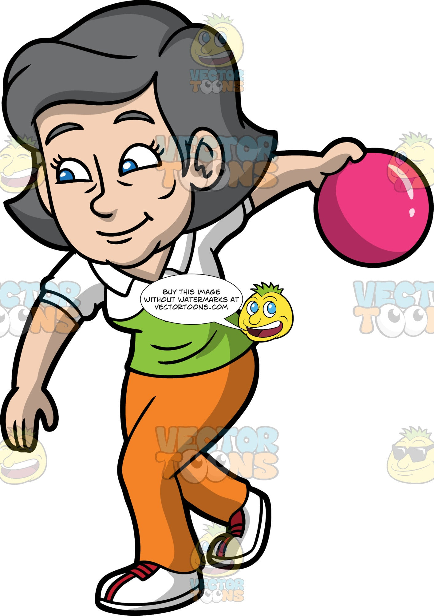 Mary Enjoying A Game Of Bowling. An older woman with gray hair, wearing orange pants, a green and white shirt, and white with red bowling shoes, getting ready to throw a pink bowling ball down the lane
