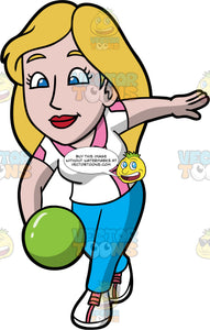 Stacey Getting Ready To Release A Bowling Ball. A woman with long, dark blonde hair, wearing blue pants, a white with pink shirt, and white bowling shoes with pink laces, holding a green bowling bowl and getting ready to release it down the lane