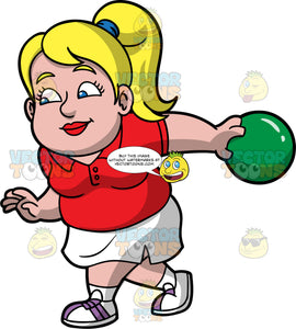 Pat Preparing Throw A Bowling Ball Down The Lane. A chubby blonde woman wearing a white skirt, a red shirt, and white with purple bowling shoes, stretching her arm behind her while holding a green bowling ball and getting ready to release it down the lane