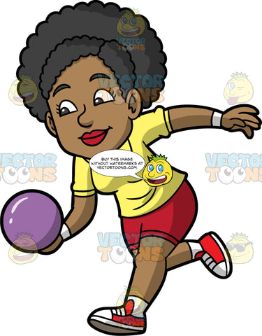 Jackie Preparing To Throw A Bowling Ball. A black woman wearing red shorts, a yellow shirt, and red with white bowling shoes, holding a purple bowling ball in her hand and getting ready to roll it down the lane