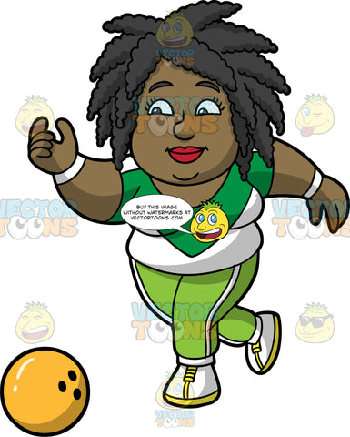 Lisa Letting Go Of A Yellow Bowling Ball. A black woman wearing lime green pants, a green and white shirt, and white with yellow bowling shoes, releasing a yellow ball down the lane