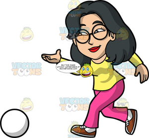 Lynn Throwing A White Bowling Ball Down The Lane. An Asian woman wearing bright pink pants, a long sleeve yellow shirt, brown and white bowling shoes, and round eyeglasses, throwing a bowling ball and watching it roll down the lane