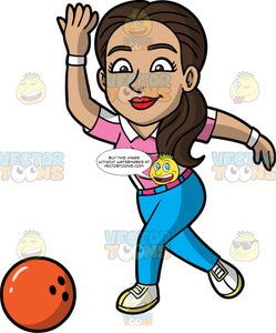 Isabella Releasing A Bowling Ball Down The Lane. A Hispanic woman with long brown hair, wearing blue pants, a pink with white shirt, and white with yellow bowling shoes, following through after letting go of an orange bowling ball