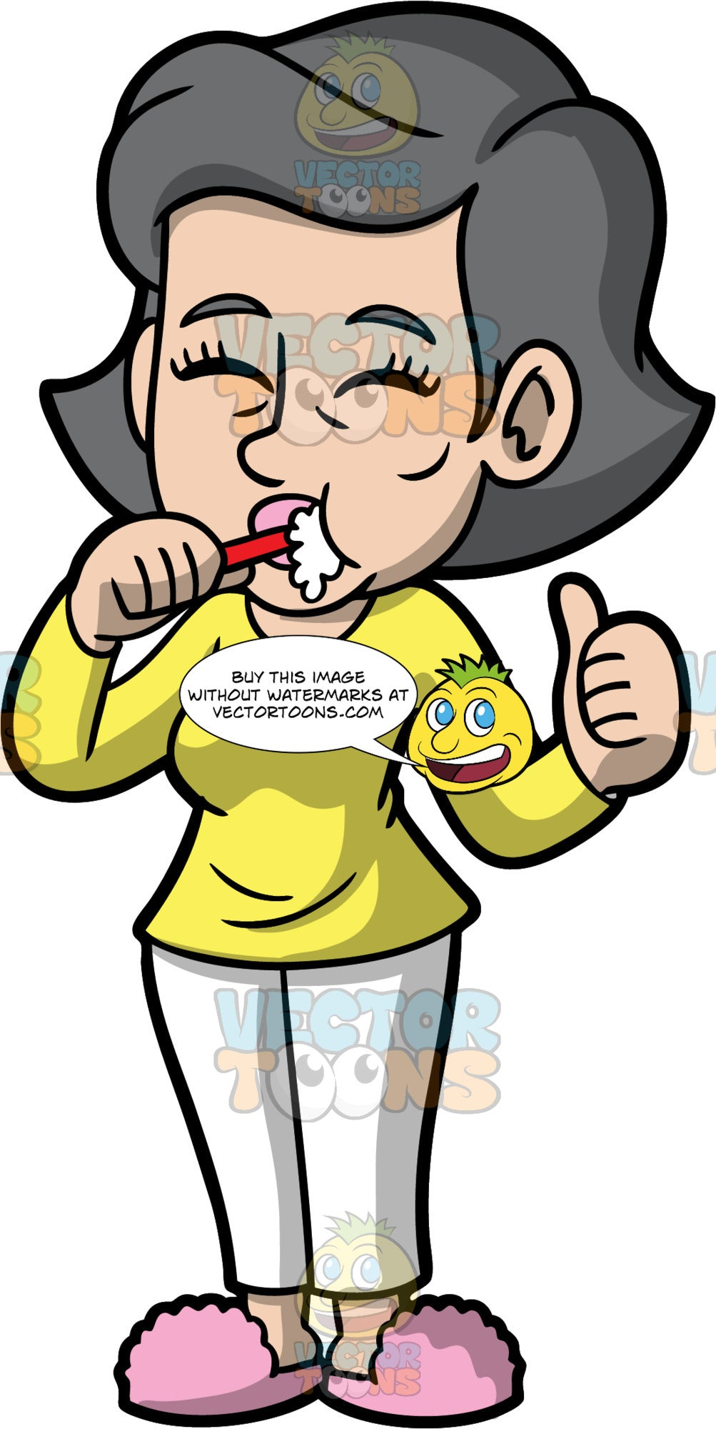Mary Brushing Her Teeth At Night. A mature woman wearing white pajama pants, a long sleeve yellow shirt, and pink slippers, closing her eyes while brushing her teeth