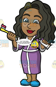 Maggy Getting Ready To Brush Her Teeth. A black woman wearing a purple robe and blue slippers, holding a tube of toothpaste in one hand, and a yellow toothbrush with toothpaste on it in the other hand