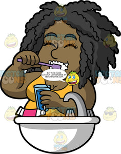 Lisa Brushing Her Teeth Before Going To Bed. A black woman wearing a yellow tank top, closes her eyes while brushing her teeth at the bathroom sink