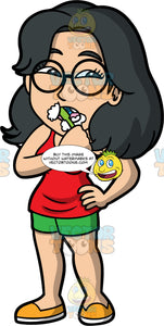 Lynn Brushing Her Teeth In The Morning. An Asian woman wearing green shorts, a red tank top, yellow shoes, and round eyeglasses, brushing her teeth with a green toothbrush