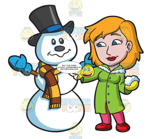 A Woman Touches Up A Snowman Figure