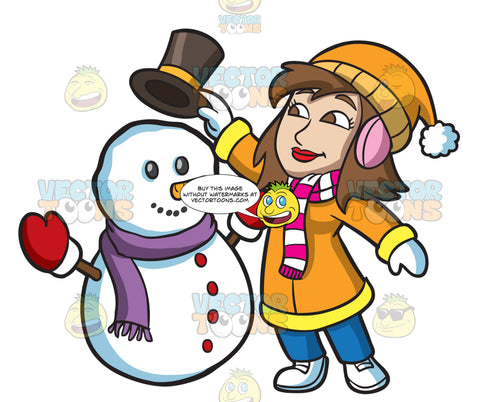 A Woman Placing A Hat On A Snowman