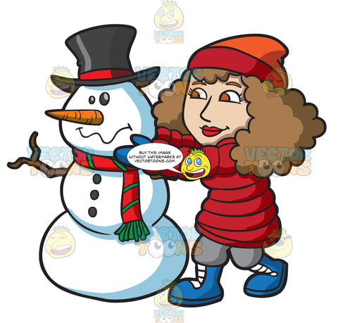 A Woman Arranging The Head Of A Snowman