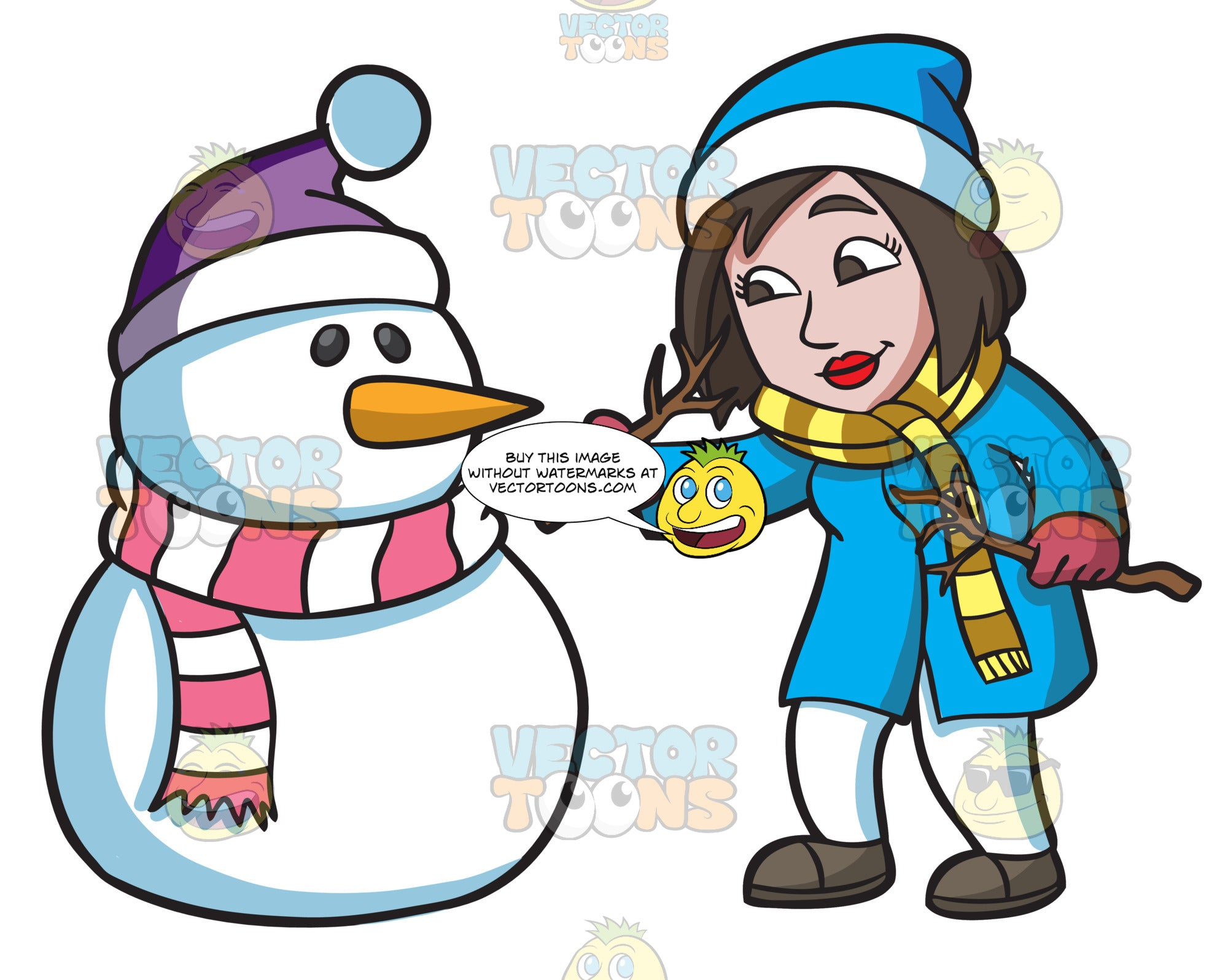 A Woman Carefully Placing The Arms Of A Snowman