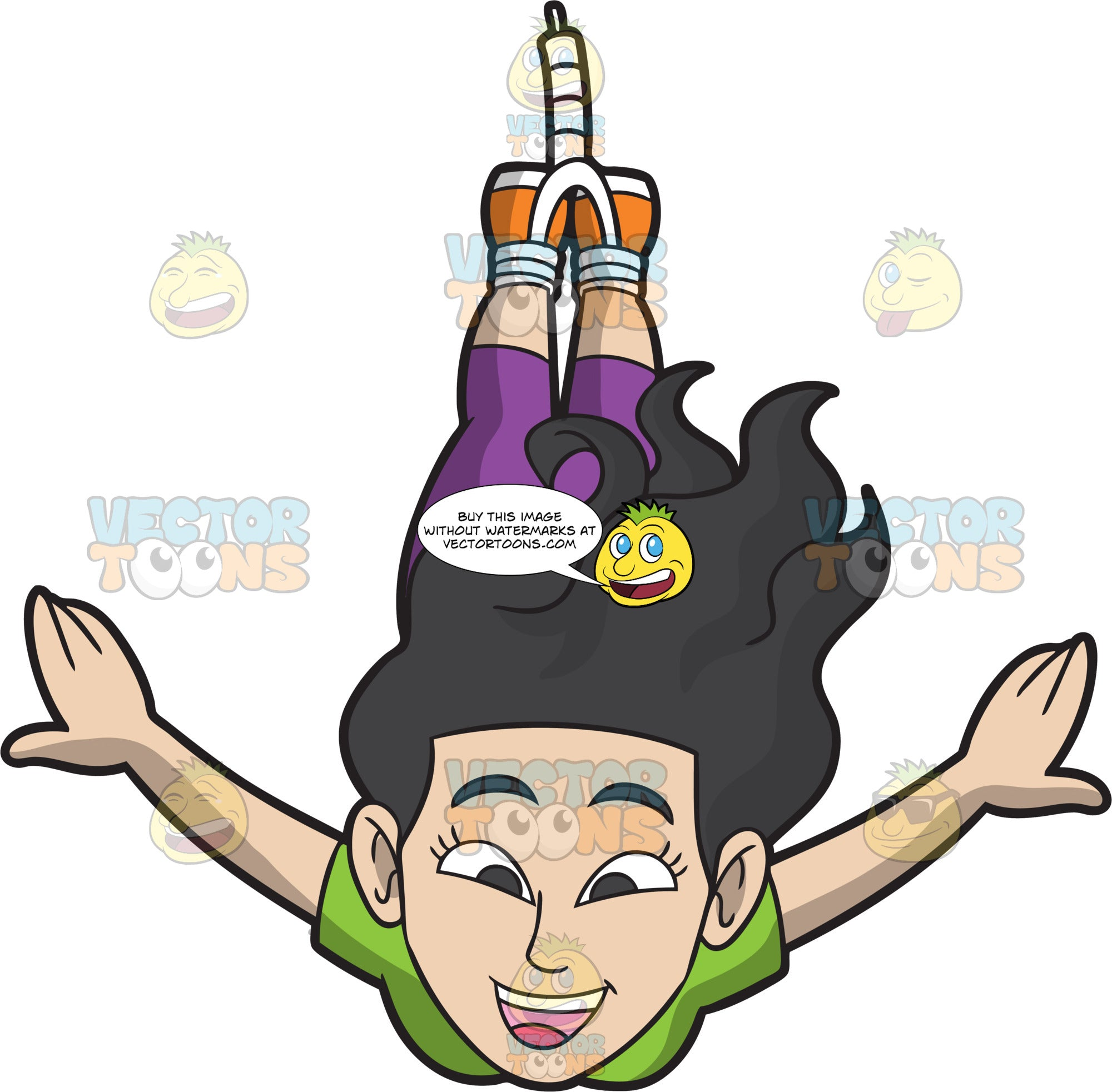 A Cheerful Woman Doing The Bungee Jump