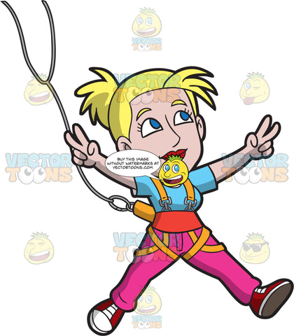 A Cool Woman Doing The Bungee Jump