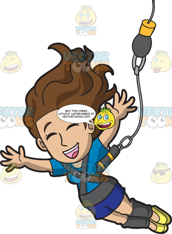 A Delighted Woman Bungee Jumping