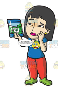 A Confused Woman Looking At Her Medical Marijuana Pack