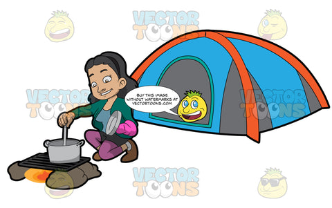 A Female Camper Cooking Her Food