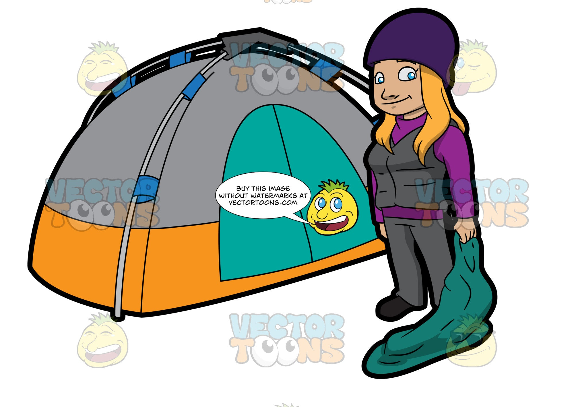 A Female Camper Carrying A Sleeping Bag