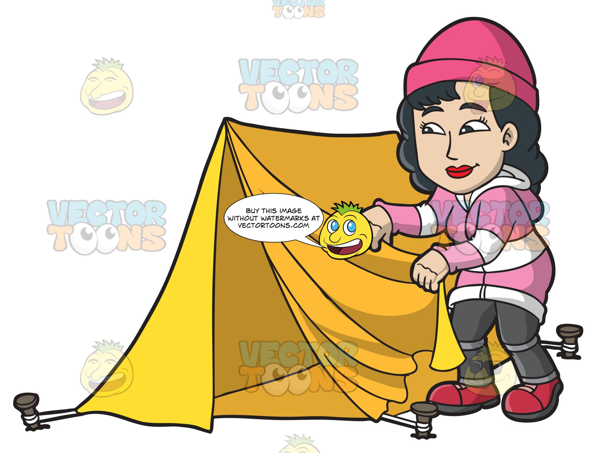 A Woman Fixing Her Tent