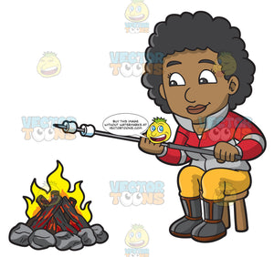 A Black Woman Grilling Marshmallows Over A Campfire
