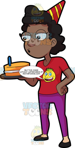 A Black Woman Blowing The Candle On Her Cake