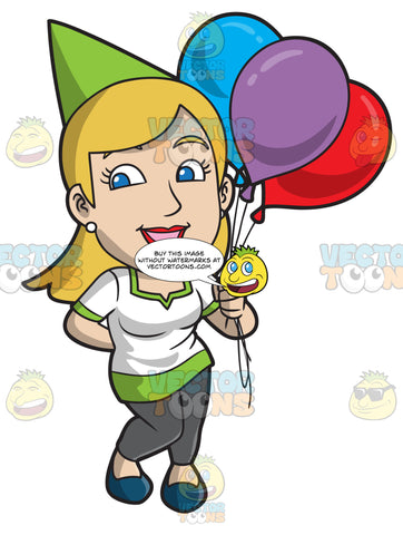 A Happy Woman Holding Birthday Balloons
