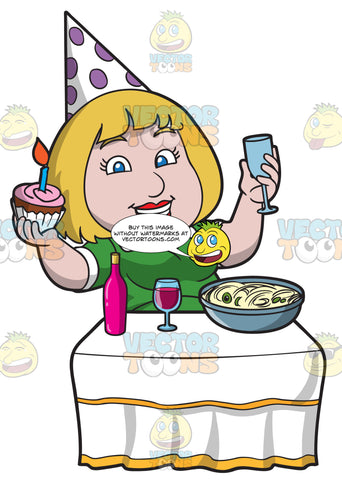 A Chubby Woman Celebrating Her Birthday With Food And Drinks
