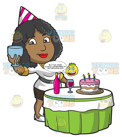 A Black Woman Toasting For Her Birthday