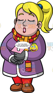 Pat Christmas Caroling. A chubby blonde woman wearing red pants, a long purple coat, brown shoes, a red and orange striped scarf, and gray gloves, holding a candle and singing Christmas carols